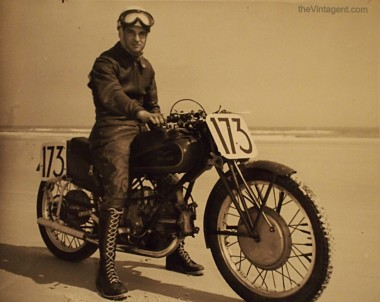 A Moto Guzzi 'Dondolino' production racer at Daytona Beach, ready for the 200-Mile race. 279lbs, 110mph, they were national champs in Italy, France, and Switzerland throughout the late '40searly '50s. Rare to see one in America, tho.jpg