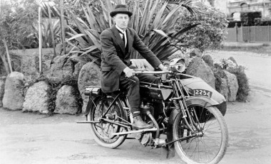 Man on a Hudson motorbike and sidecar which he built himself..jpg
