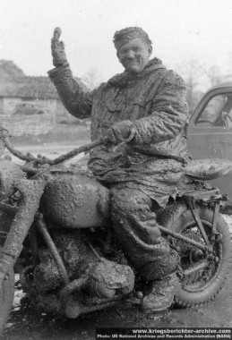 A Leibstandarte motorcyclist demonstrates the perils of attempting to travel on Russian roads in the rasputiza2.jpg